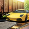 Yellow Lamborghini Murcielago by a train wagon 1920×1080 HD