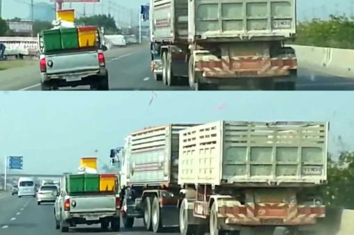 Mad road rage battle: Toyota Hilux vs Volvo Truck (video)