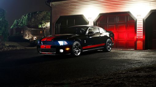 Black with red stripes Ford Mustang Shelby GT500 1920×1080 HD