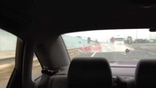 Ferrari 458 Spider got wrecked on a highway in Italy