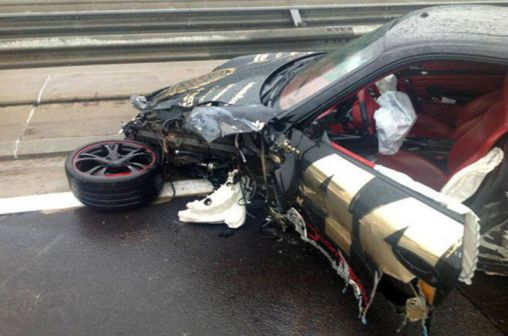 Porsche 997 Turbo crashed at 2013 Gumball 3000 road rally