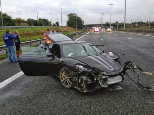 Ferrari F430 Scuderia & Mercedes-Benz SLS AMG recent collision