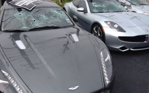 Expensive luxury cars wrecked by a crazy naked man in Texas