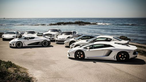 Magnificent white color supercars gathering 1920×1080 HD